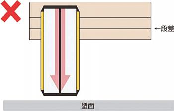 段差のすぐ前に壁があり、スロープを設置すると車イスが侵入できない